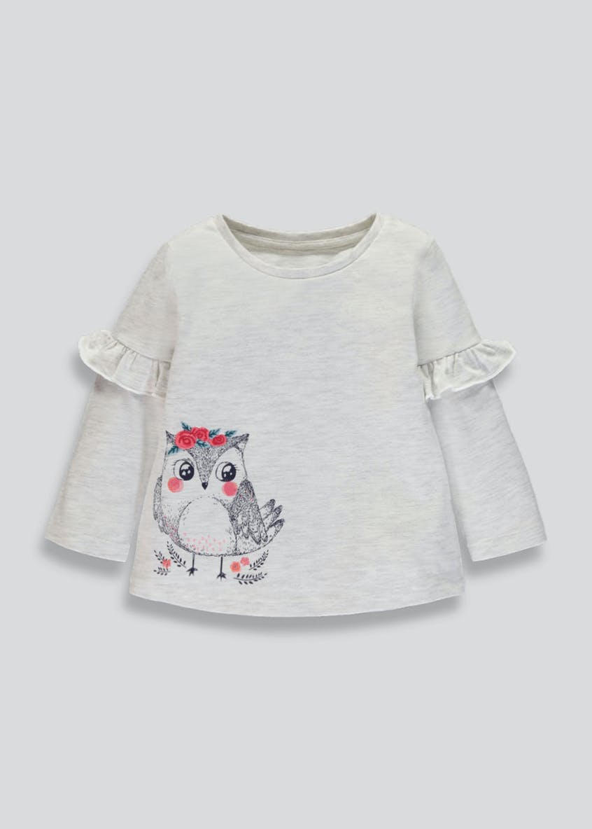 Girls Owl Print Long Sleeve T-Shirt (3mths-6yrs)