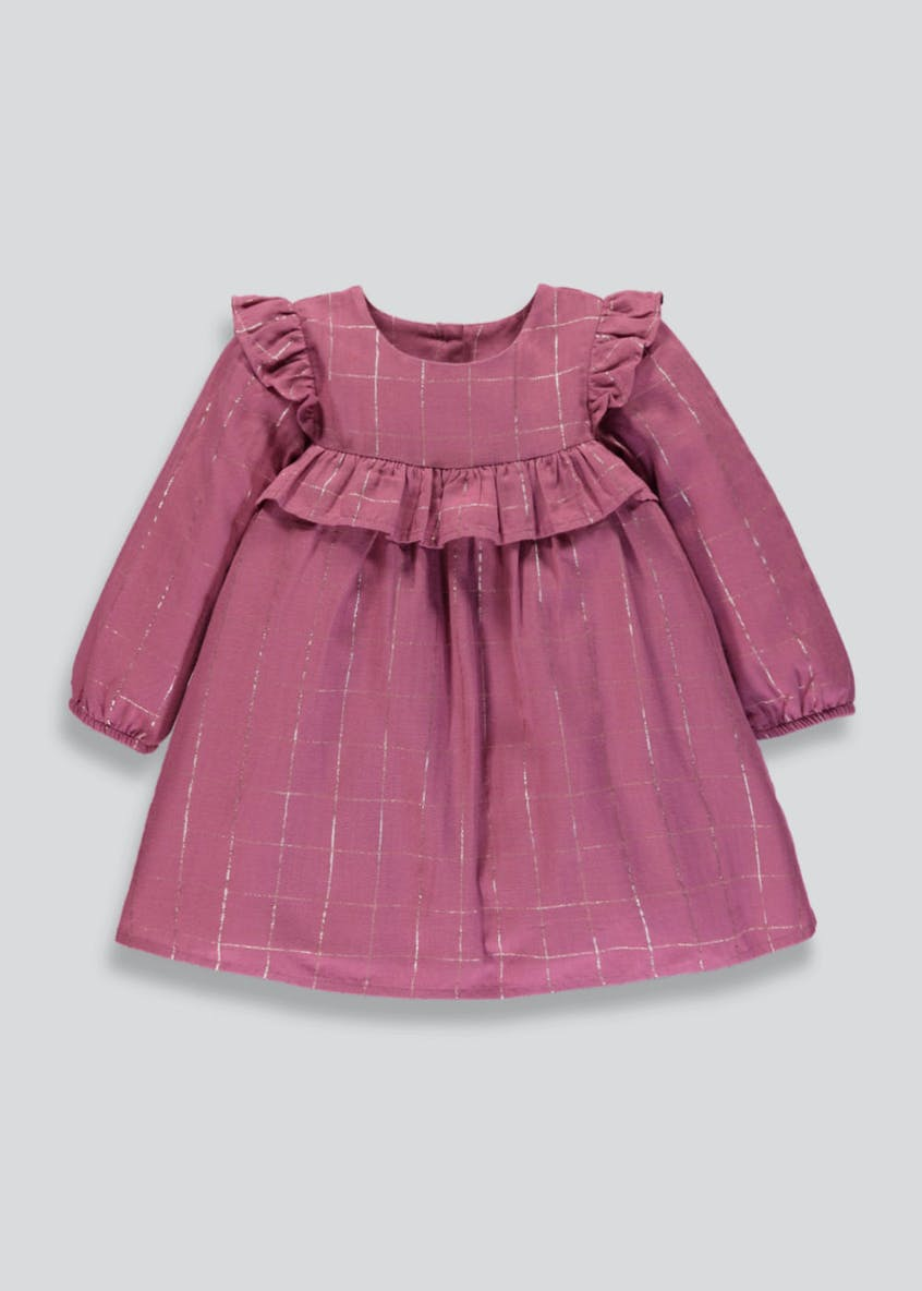 Girls Lurex Check Ruffle Dress (3mths-6yrs)