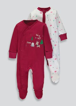 Unisex 2 Pack Christmas Sleepsuits (Newborn-18mths)