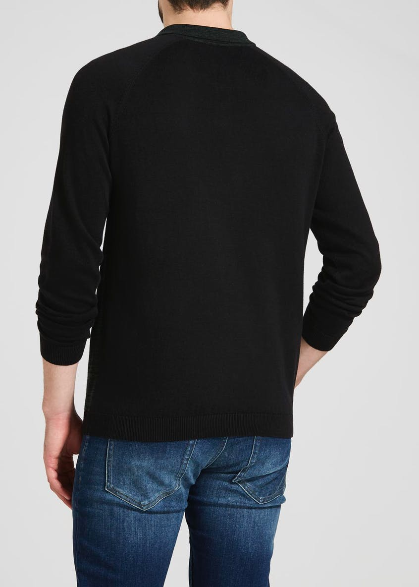Twist Knitted Long Sleeve Polo Shirt