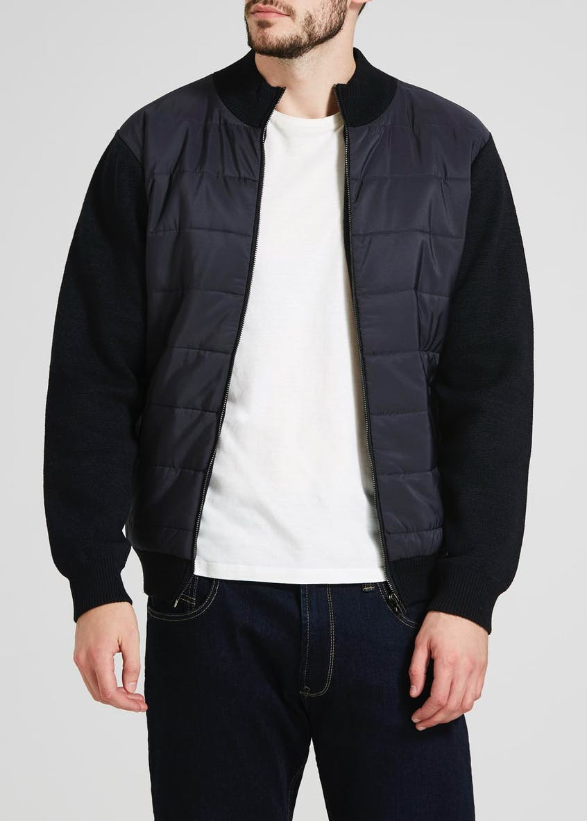 Knitted Sleeve Panel Bomber Jacket