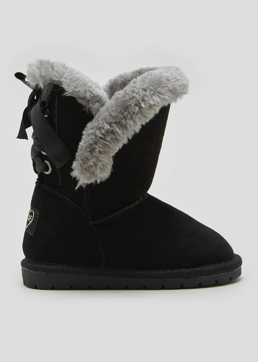 Girls Real Suede Faux Fur Lined Boots (Younger 4-9)