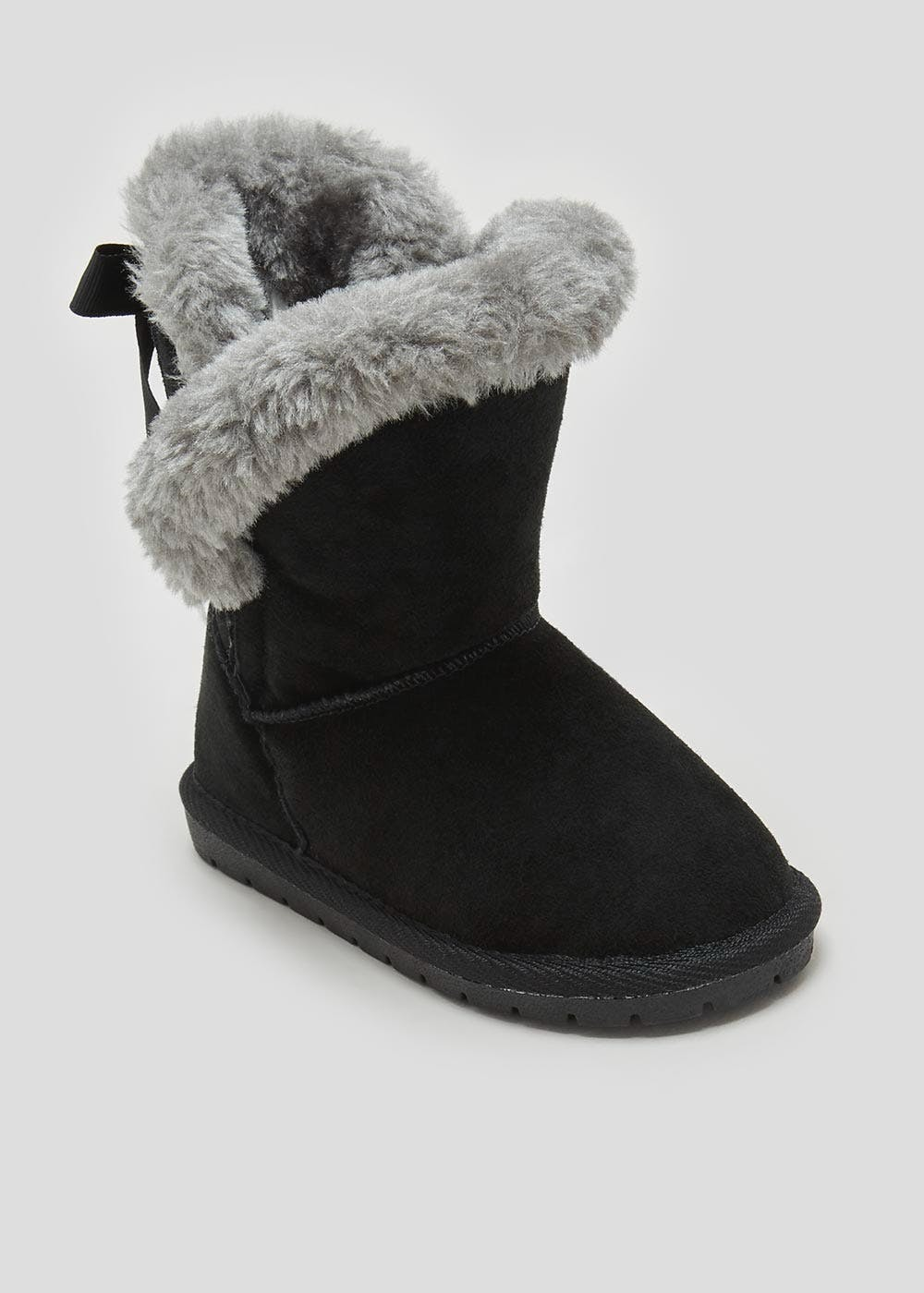 2bed6c14be08 Girls Real Suede Faux Fur Lined Boots (Younger 4-9) – Black – Matalan
