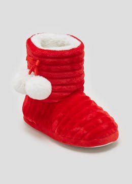 Girls Santa Christmas Slipper Boots (Younger 10-Older 5)