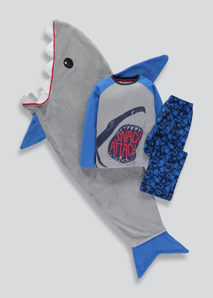 Boys 3 Piece Shark Pyjamas & Blanket Set (4-13yrs)
