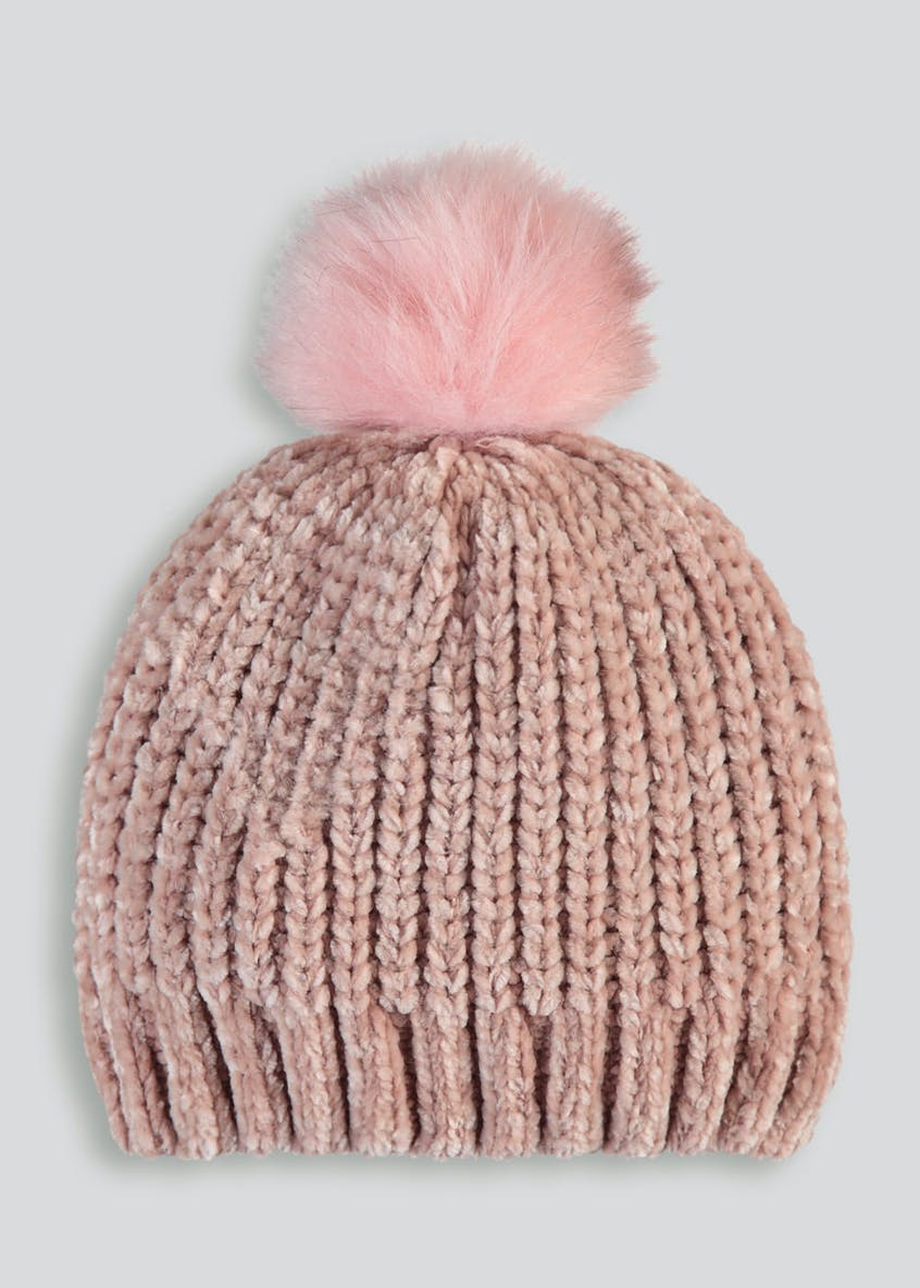 Girls Chenille Bobble Hat (3-13yrs)