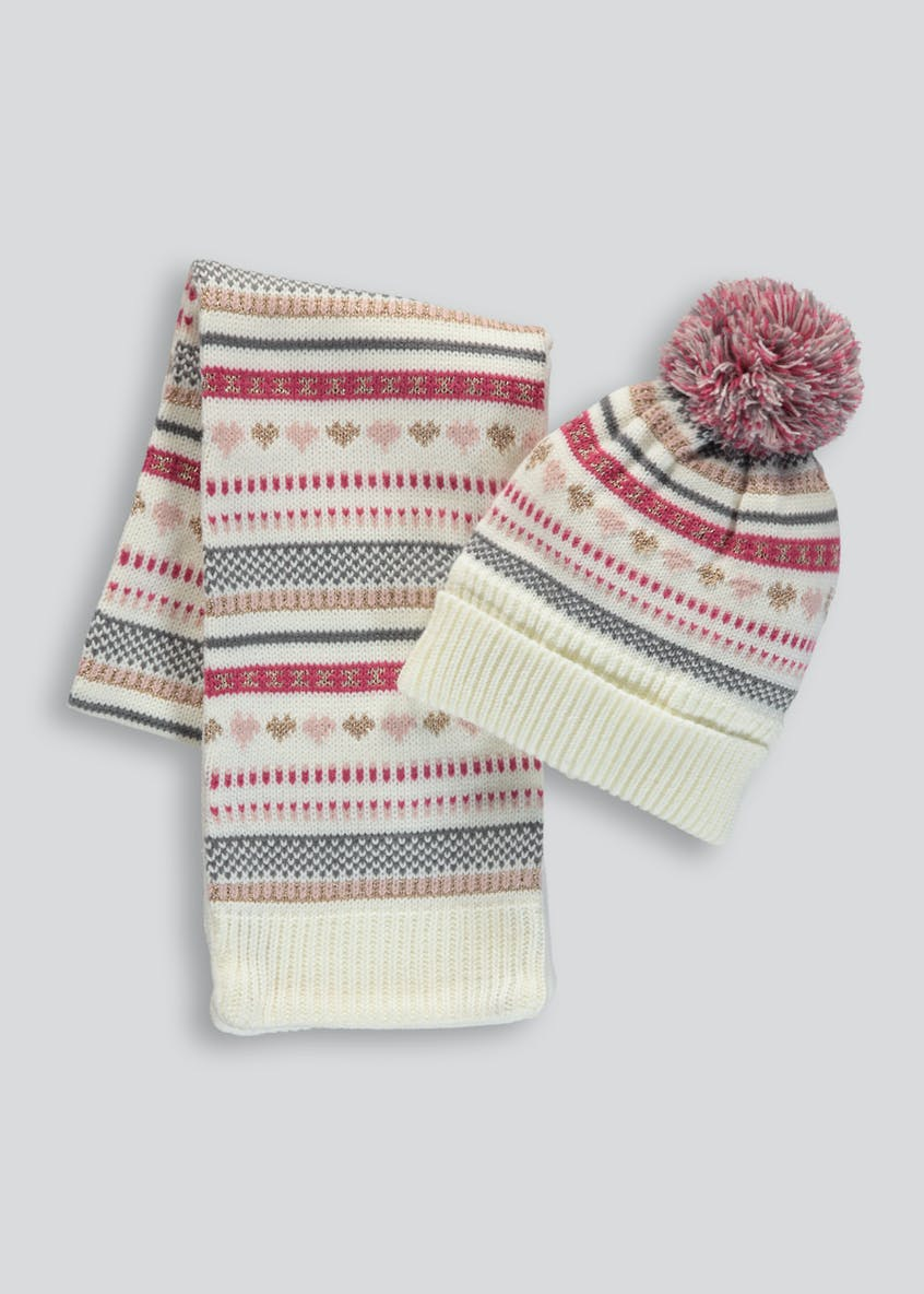 Girls Fair Isle Bobble Hat & Scarf Set (12mths-4yrs)