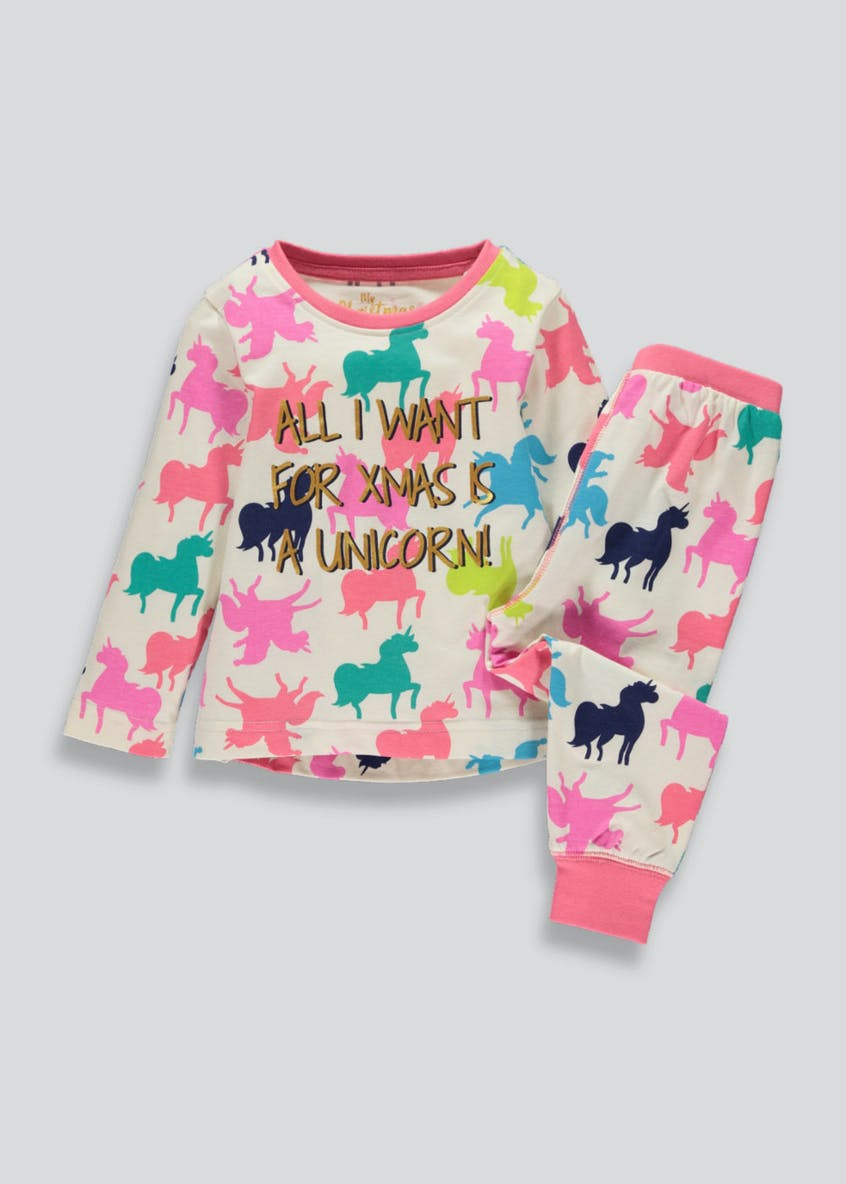 Girls Unicorn Christmas Pyjama Set (9mths-5yrs)