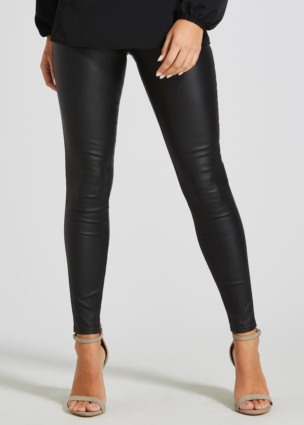 b19f42a2d9a30 Rosie Coated Jeggings – Black – Matalan