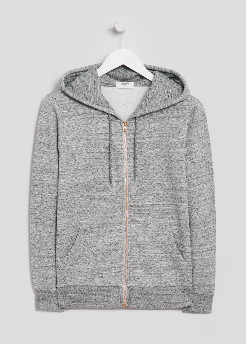 Textured Zip Through Hoodie