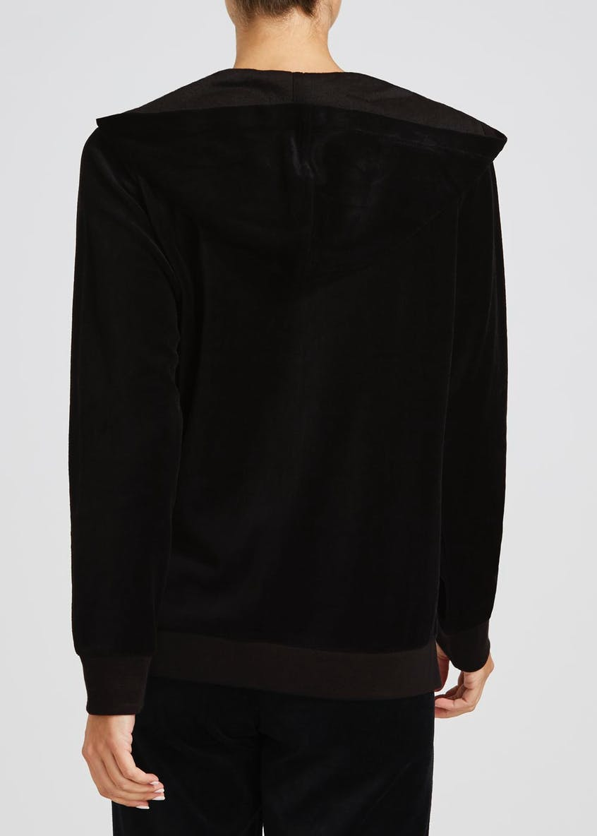Velour Zip Through Hoodie