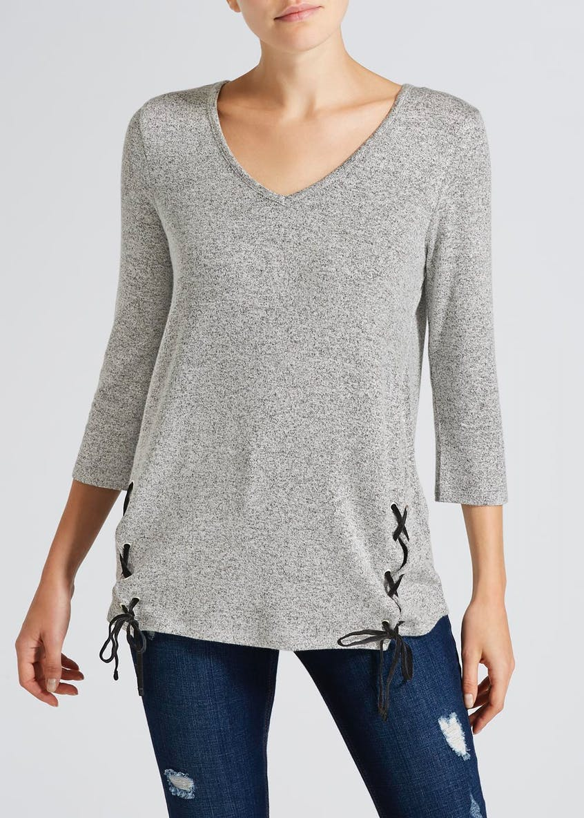 Velvet Lace Up Snit Top
