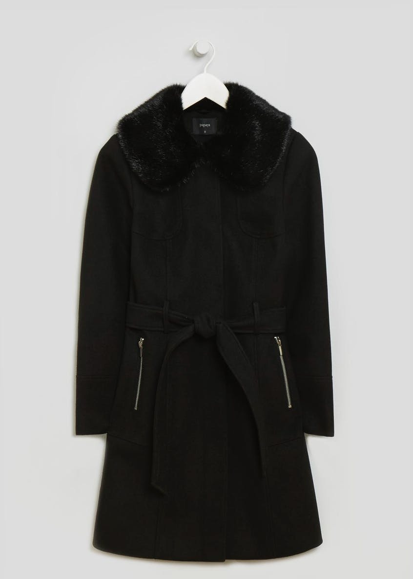 Faux Fur Collar Tie Front Coat