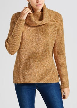 Ribbed Chunky Roll Neck Jumper
