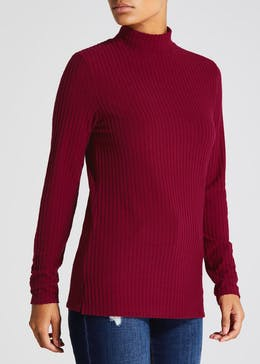 Soft Touch Ribbed Roll Neck Top