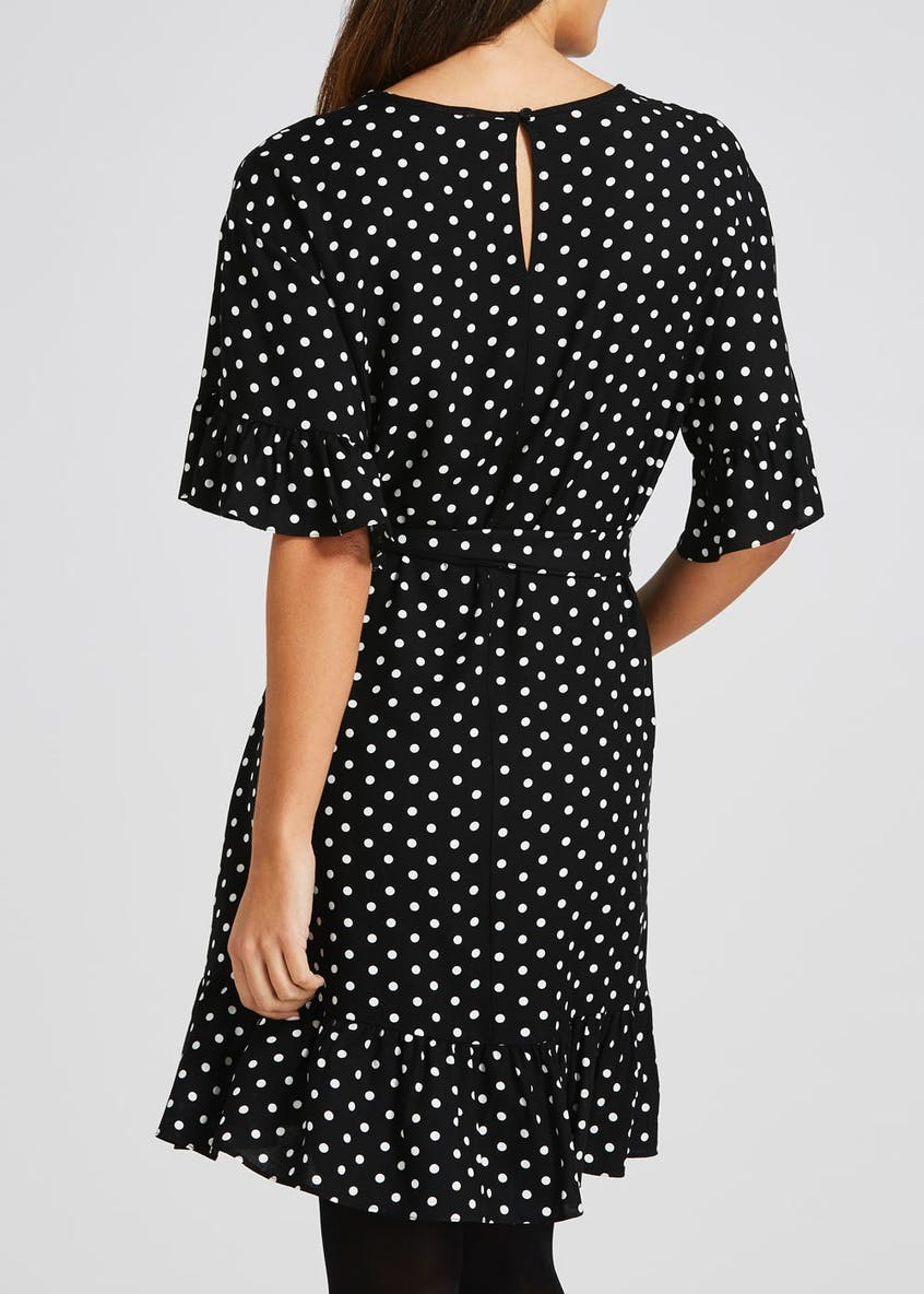 Polka Dot Frill Sleeve Dress