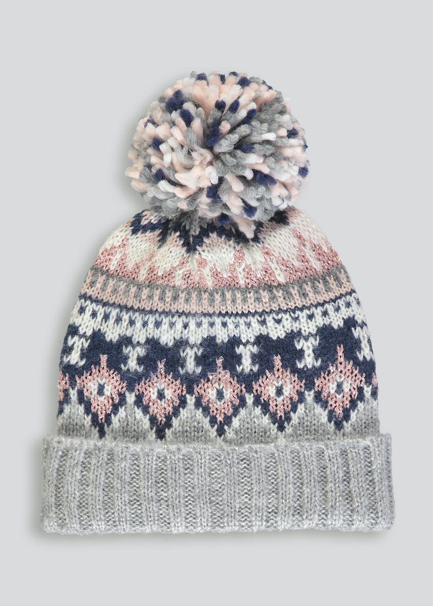 Pom Pom Fair Isle Bobble Hat