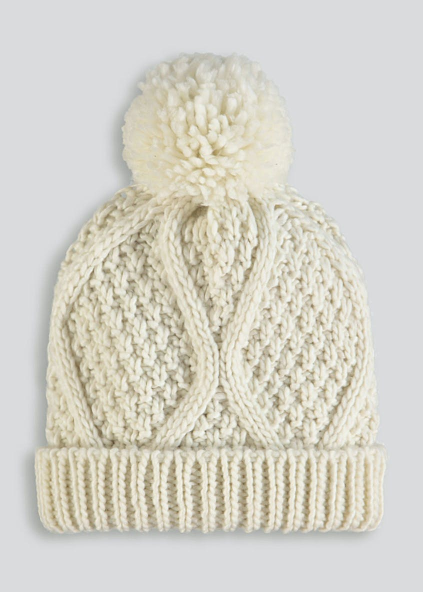 Pom Pom Cable Knit Bobble Hat