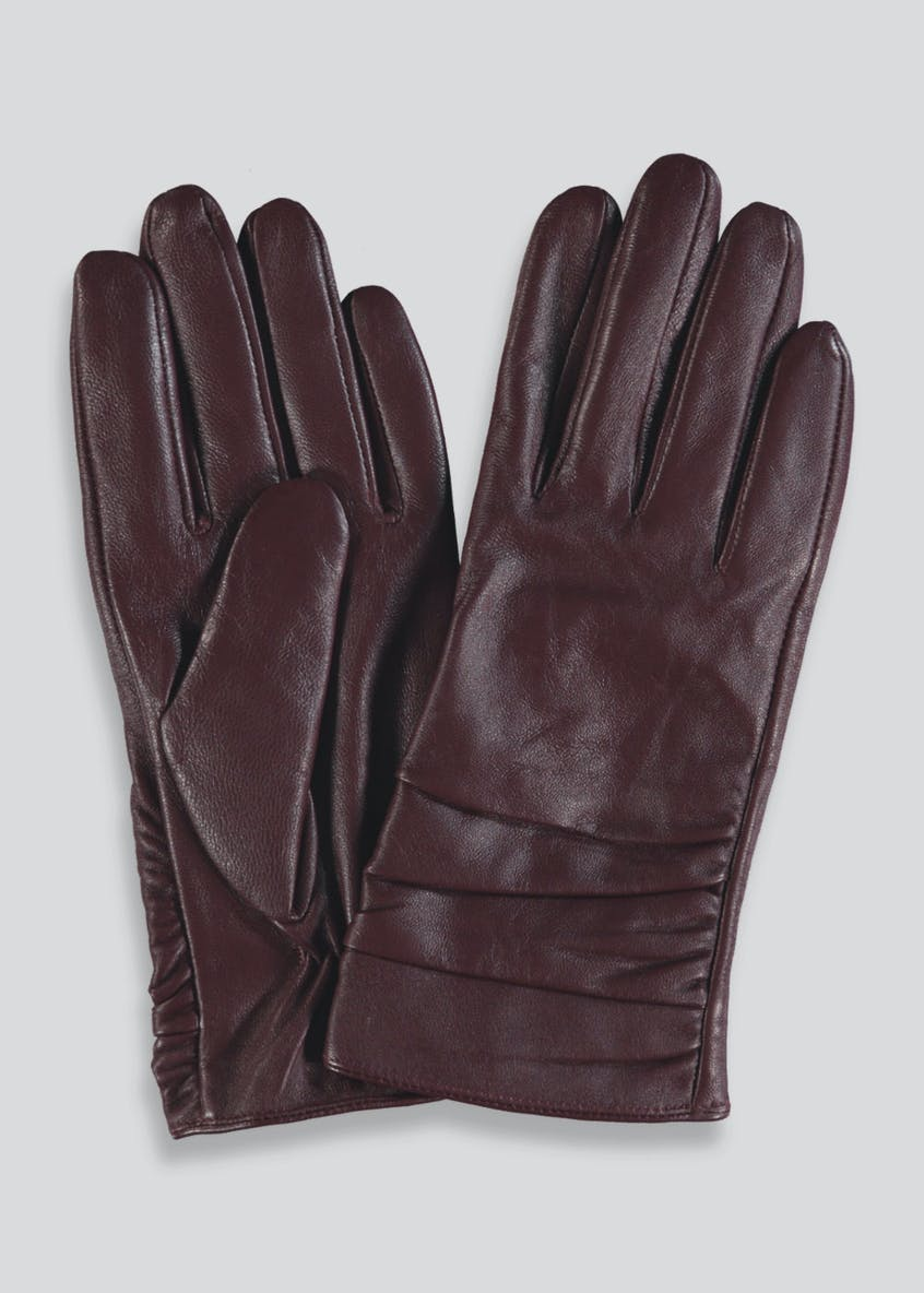 Ruched Real Leather Gloves