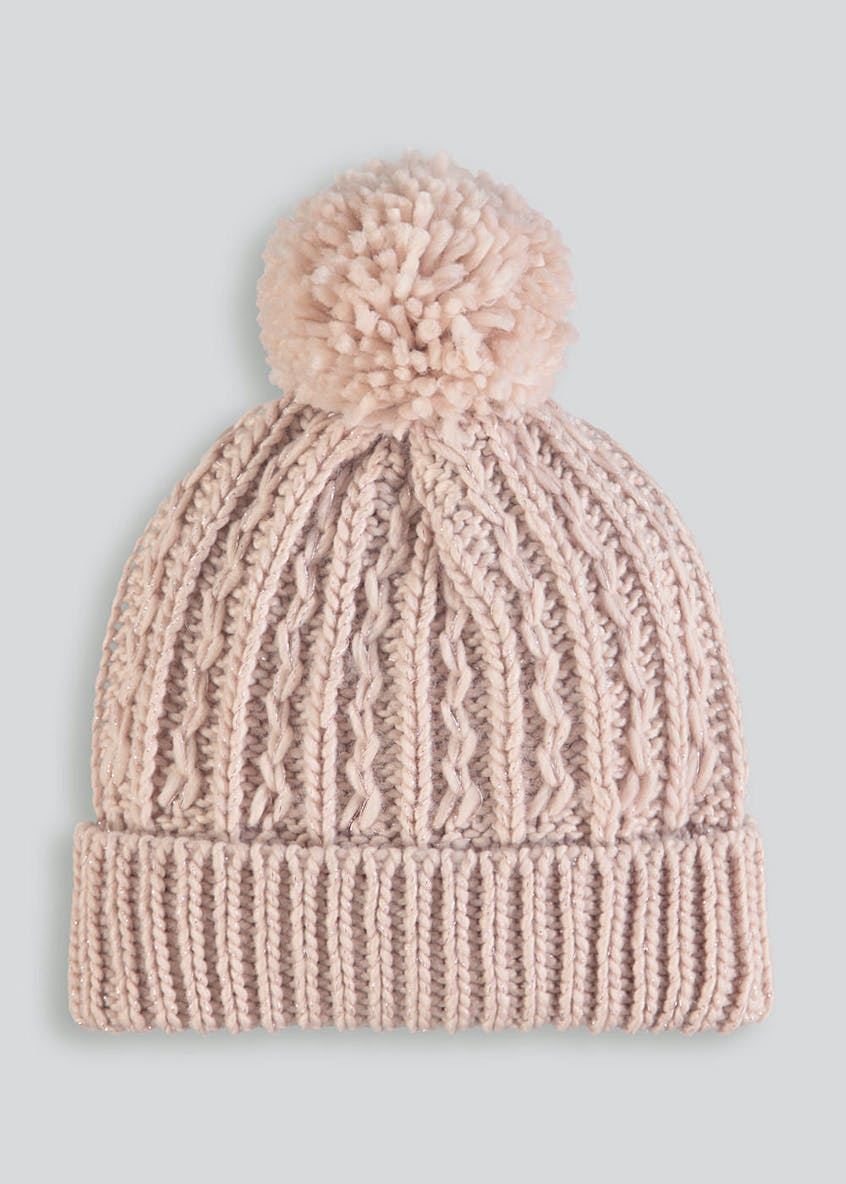 Lurex Cable Knit Bobble Hat