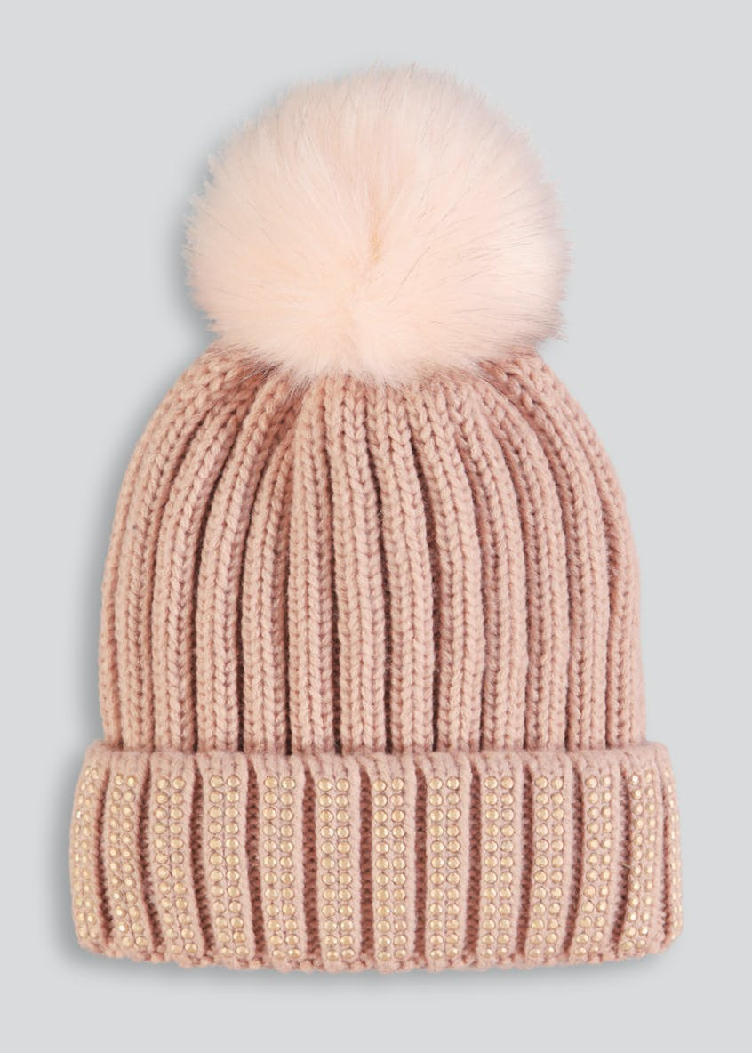 Gem Embellished Bobble Hat