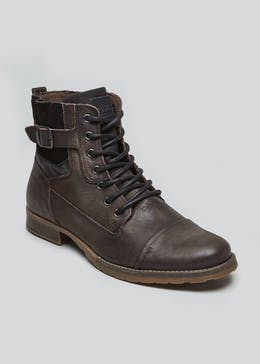Real Leather Toe Cap Buckle Boots