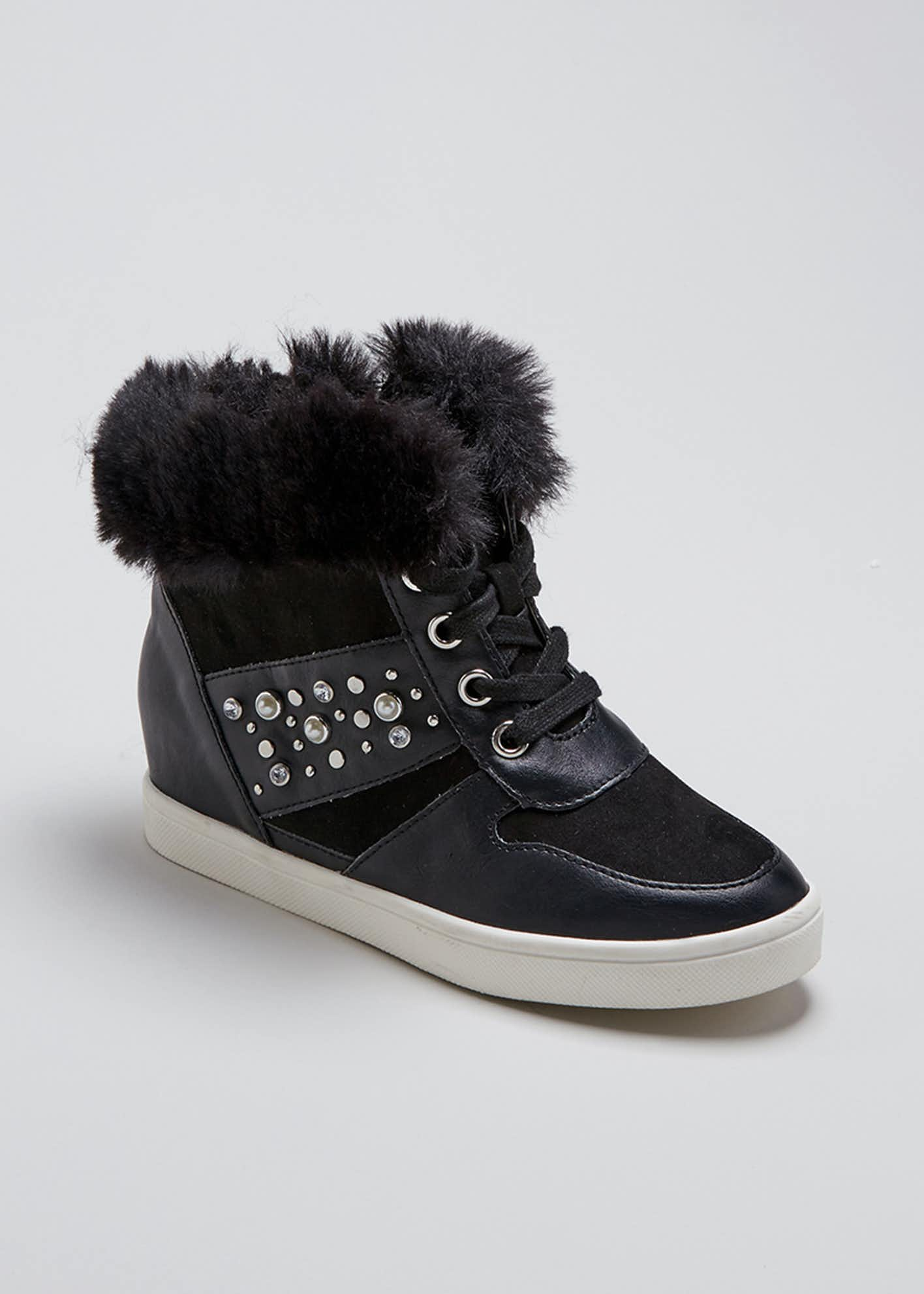 Girls Faux Fur Hi Top Wedge Trainers (Younger 13-Older 5)