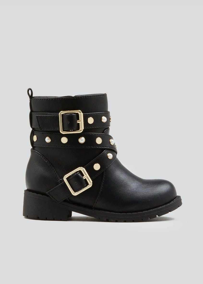 Girls Pearl Studded Biker Boots (Younger 4-9)