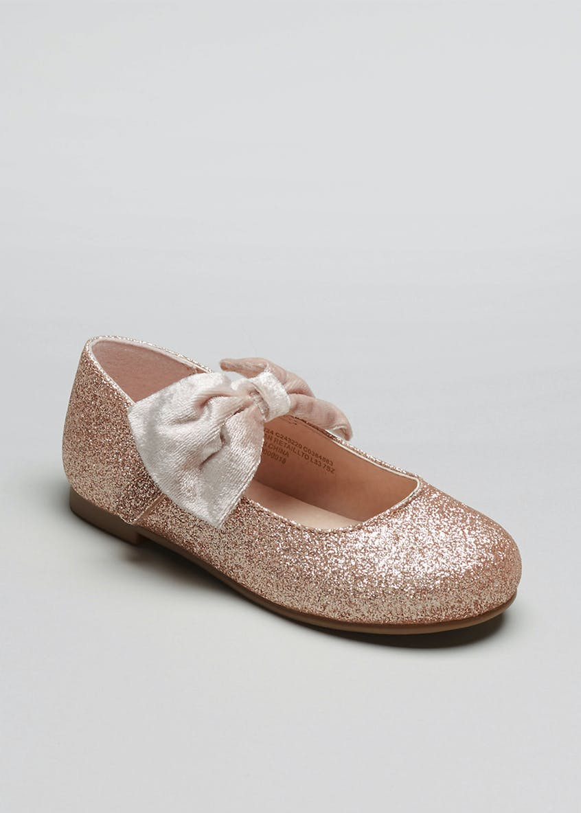 Girls Glitter Bow Ballet Shoes (Younger 4-12)