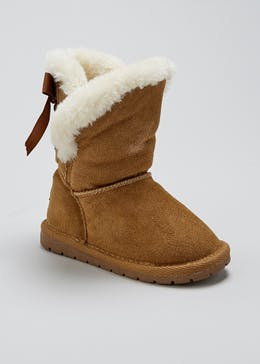 Real Suede Faux Fur Lined Boots (Younger 4-9)
