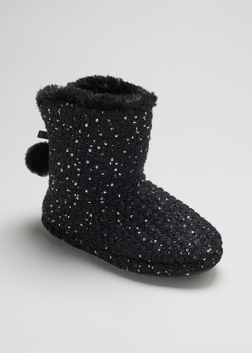 Sequin Knitted Slipper Boots