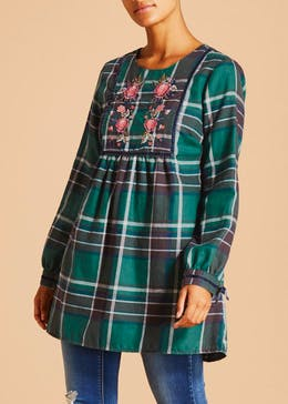Falmer Floral Embroidered Check Tunic