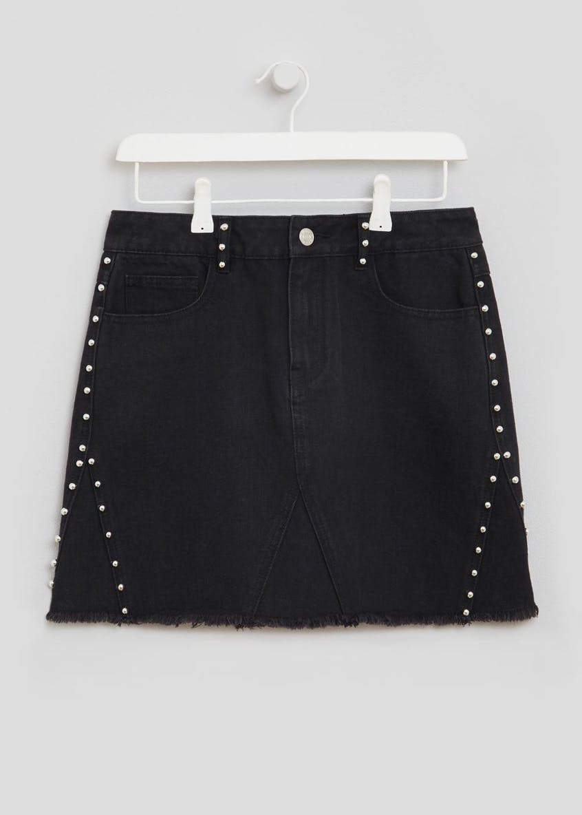 Studded Denim Mini Skirt