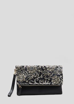 Floral Sequin Clutch Bag