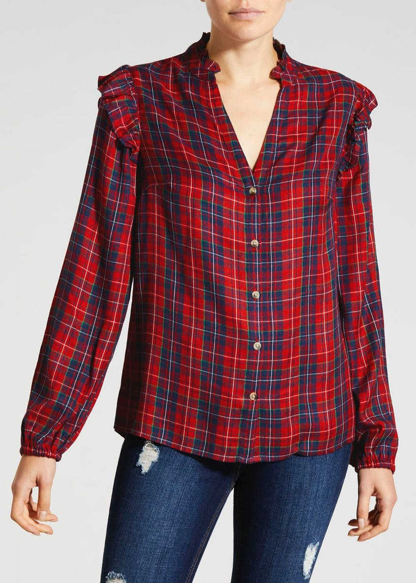 Check Ruffle Christmas Shirt