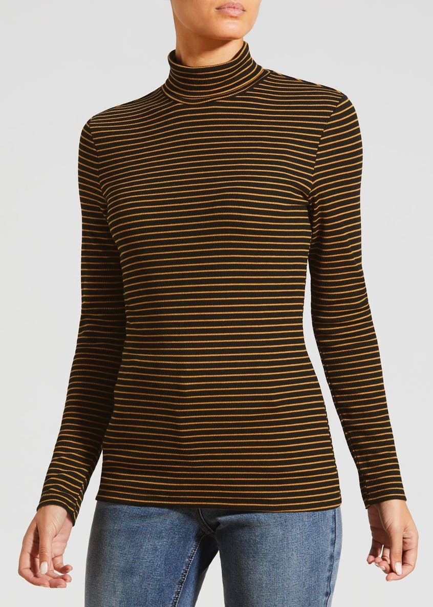 Stripe Ribbed Roll Neck Top
