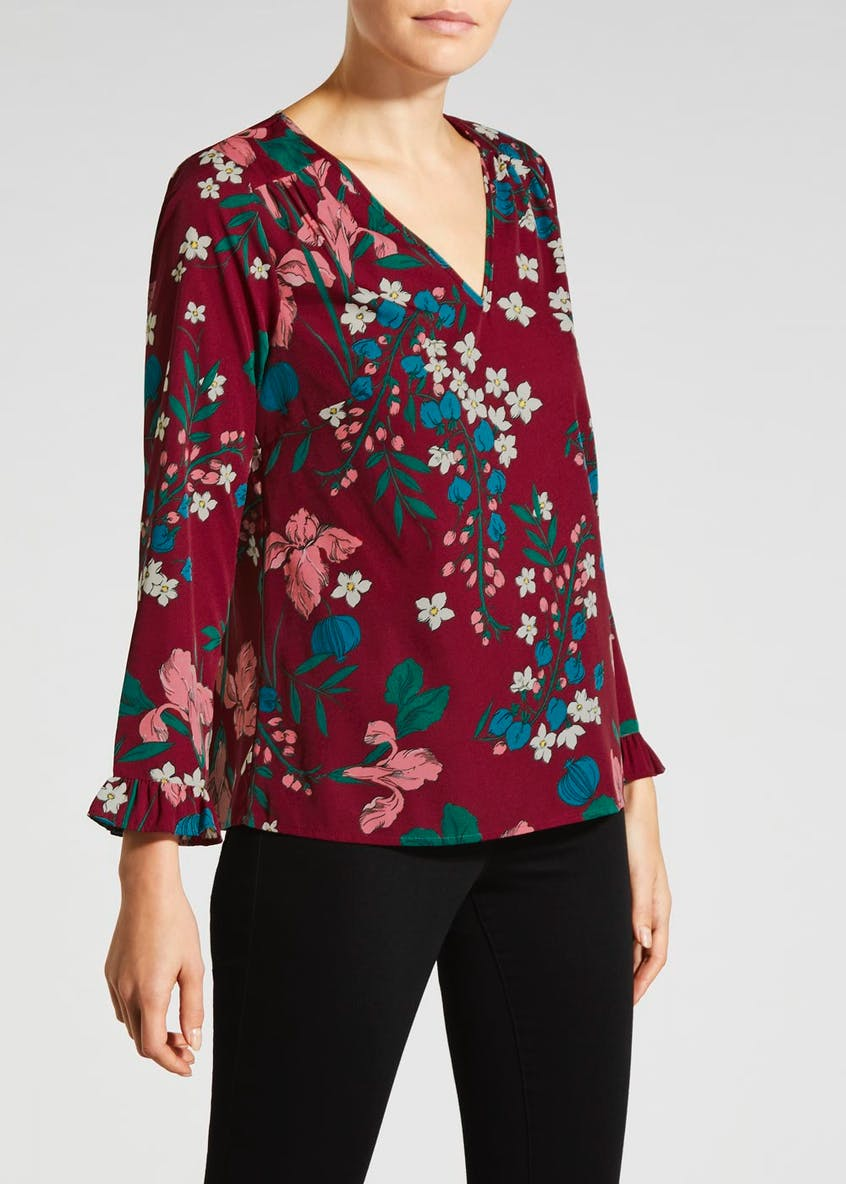 Floral Frill Cuff Blouse