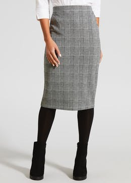 Check Ponte Pencil Skirt