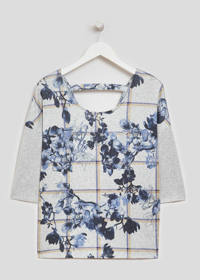 Floral Check Bar T-Shirt