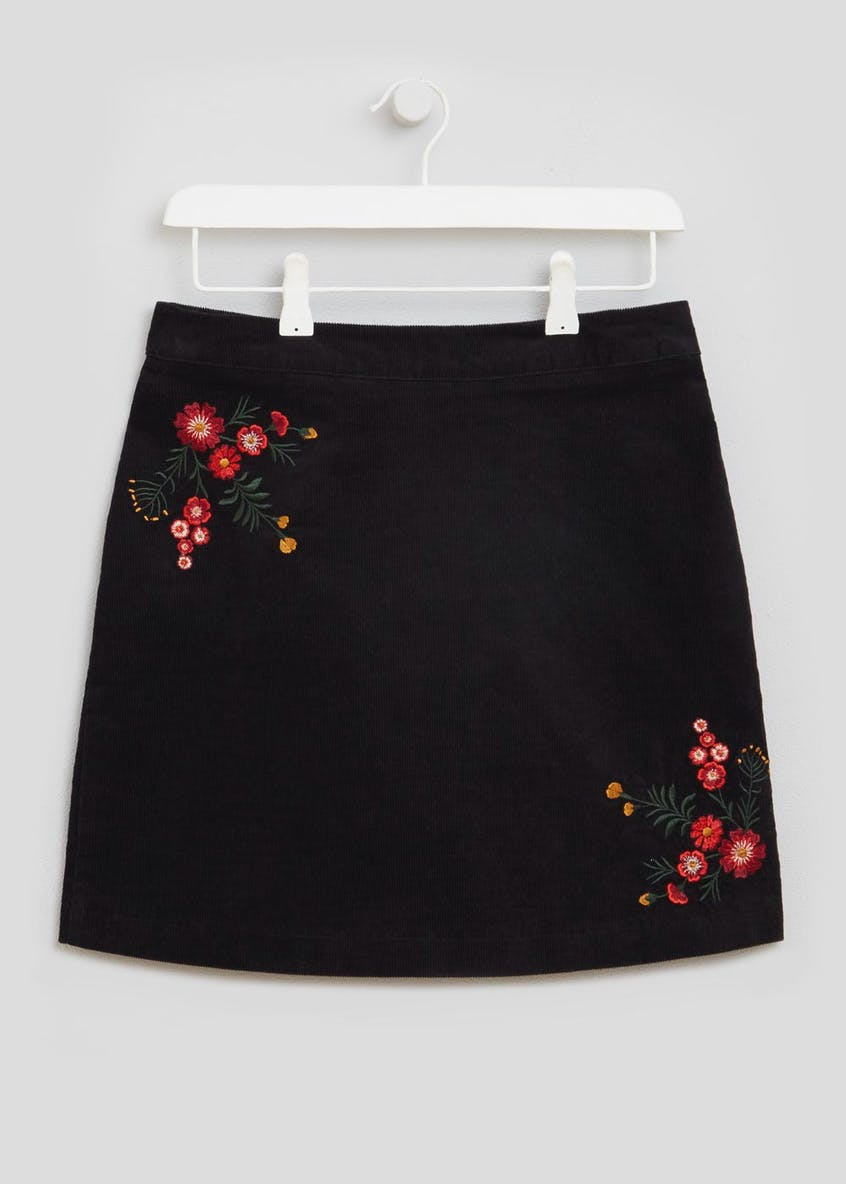 Floral Embroidered Cord A-Line Skirt