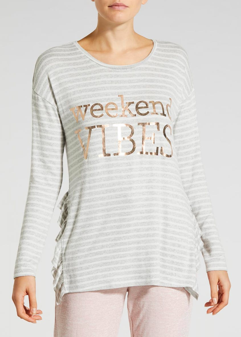Weekend Vibes Slogan Pyjama Top