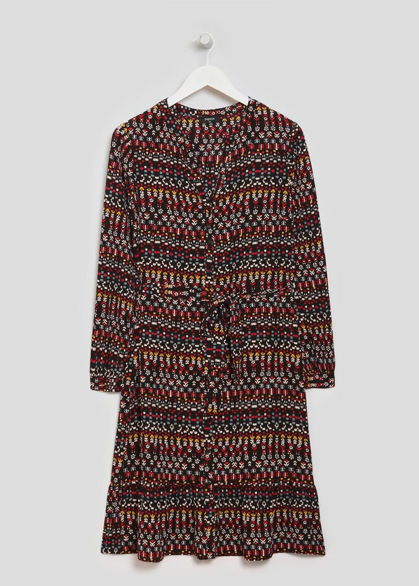 Printed Frill Hem Shirt Dress