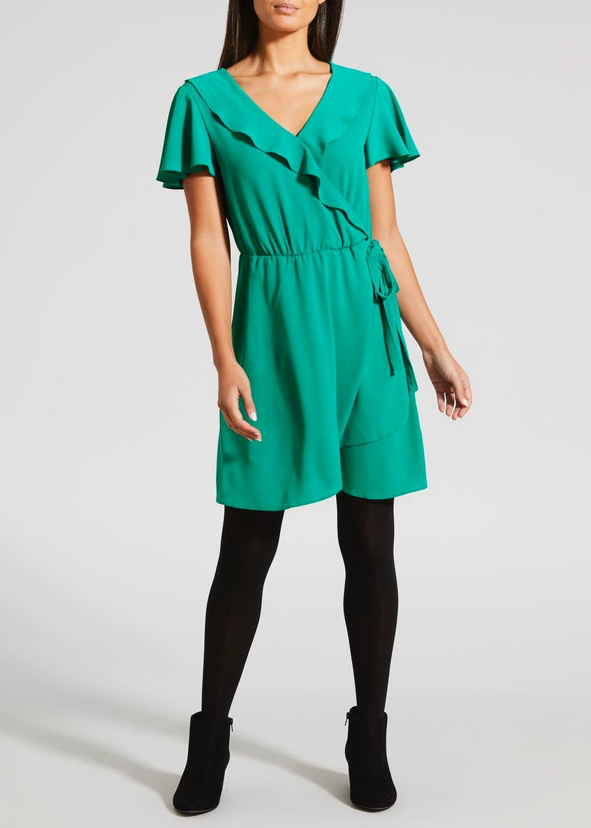 Frill Wrap Mini Dress