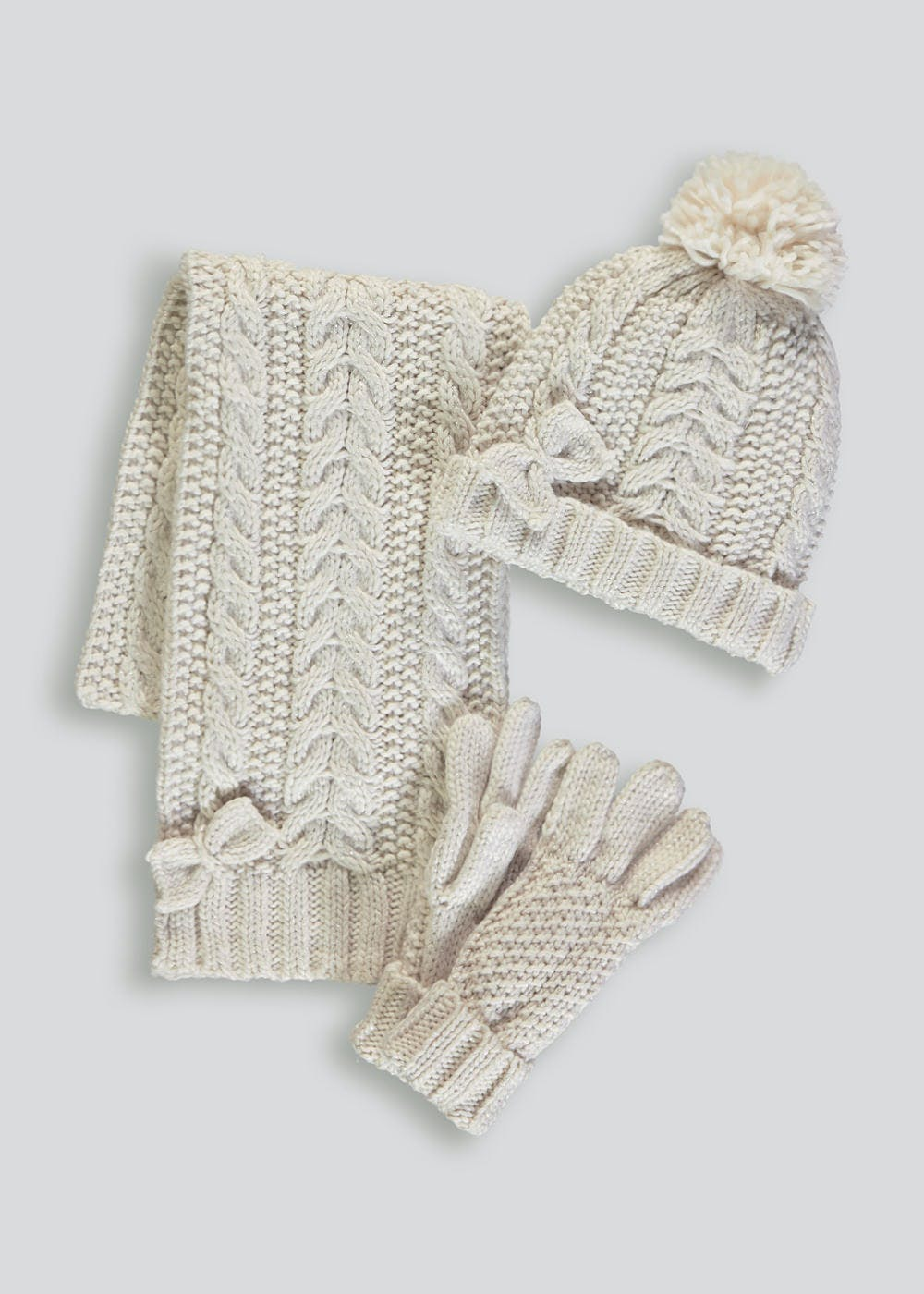 b1be70dc3e875 Girls Cable Knit Hat Scarf   Gloves Set (3-13yrs) – Cream – Matalan