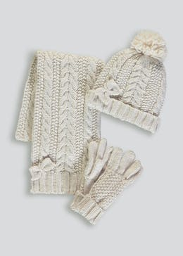 Girls Cable Knit Hat Scarf & Gloves Set (3-13yrs)