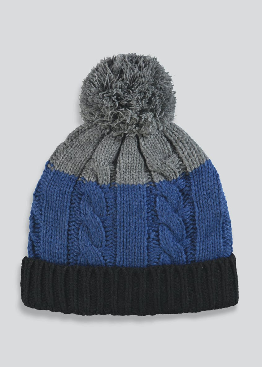 Kids Colour Block Bobble Hat (3-13yrs)
