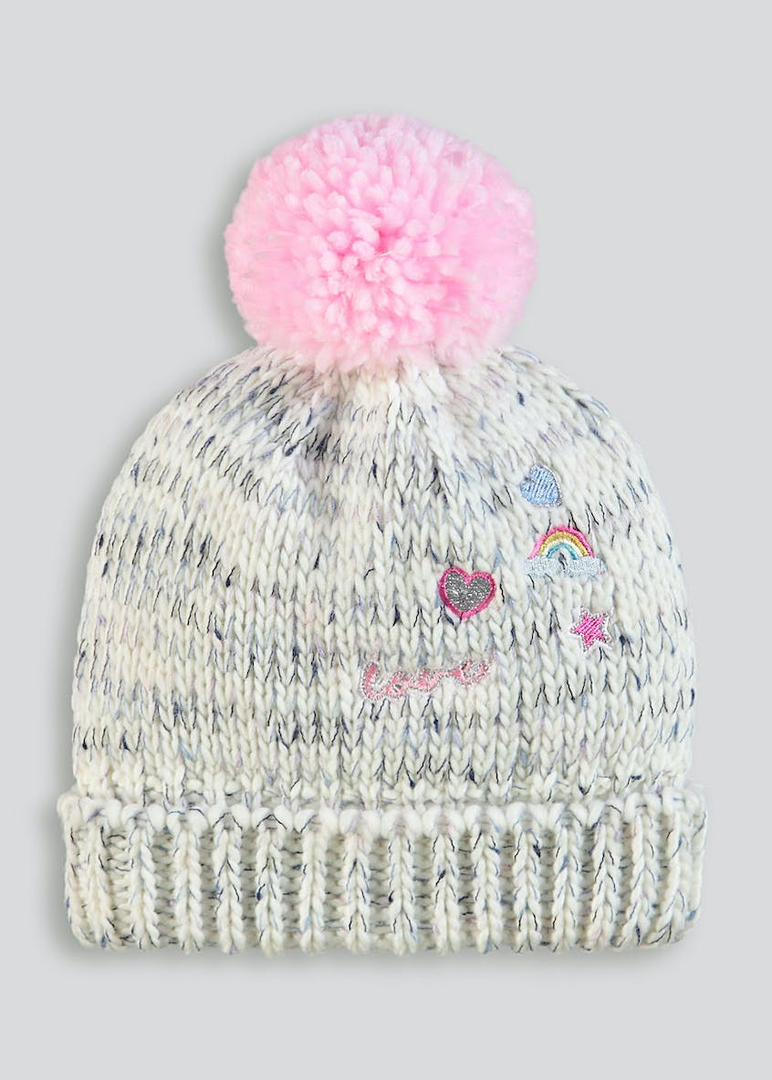 Girls Neppy Badge Bobble Hat (3-13yrs)