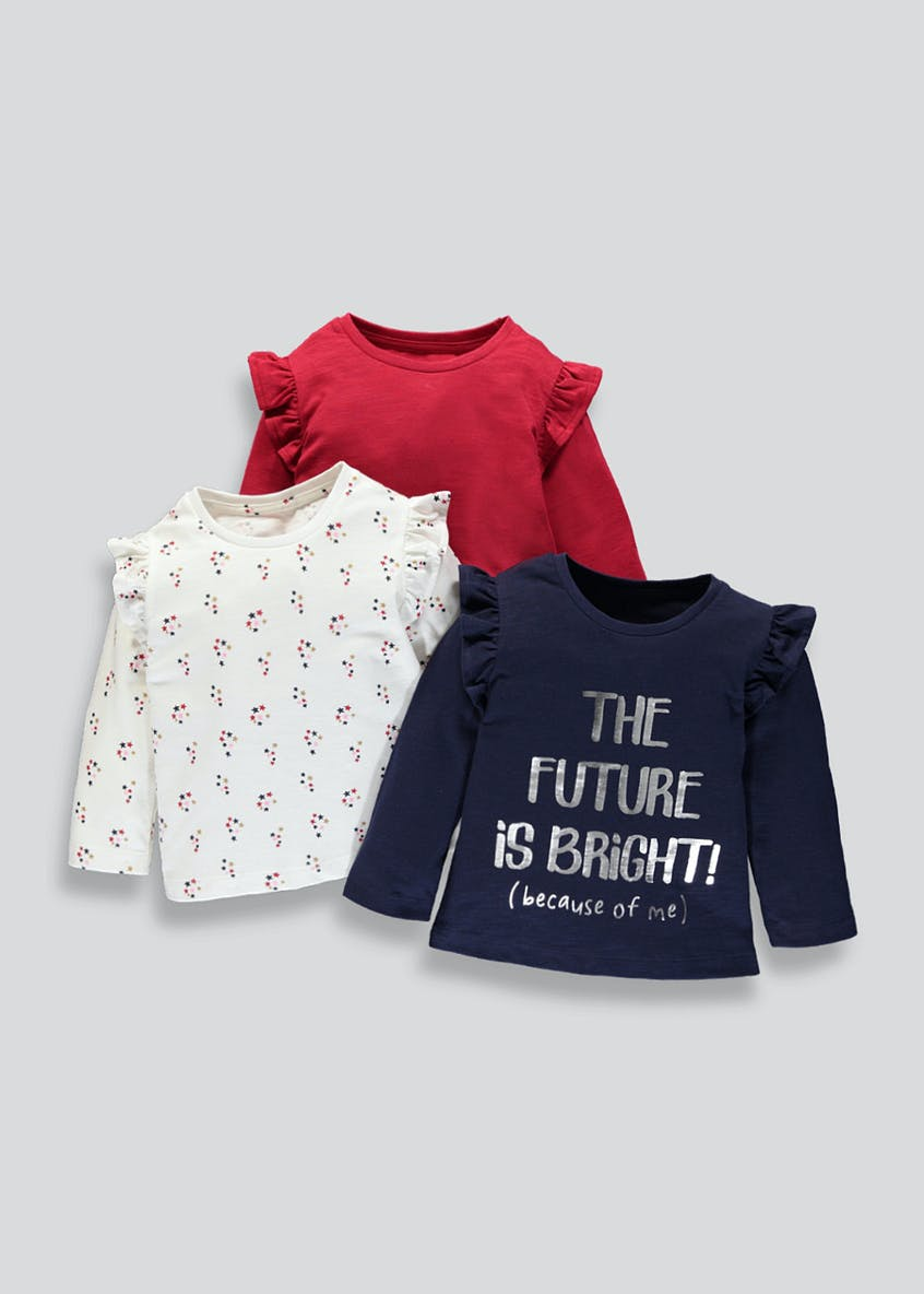 Girls Frill Shoulder T-Shirts (3mths-6yrs)