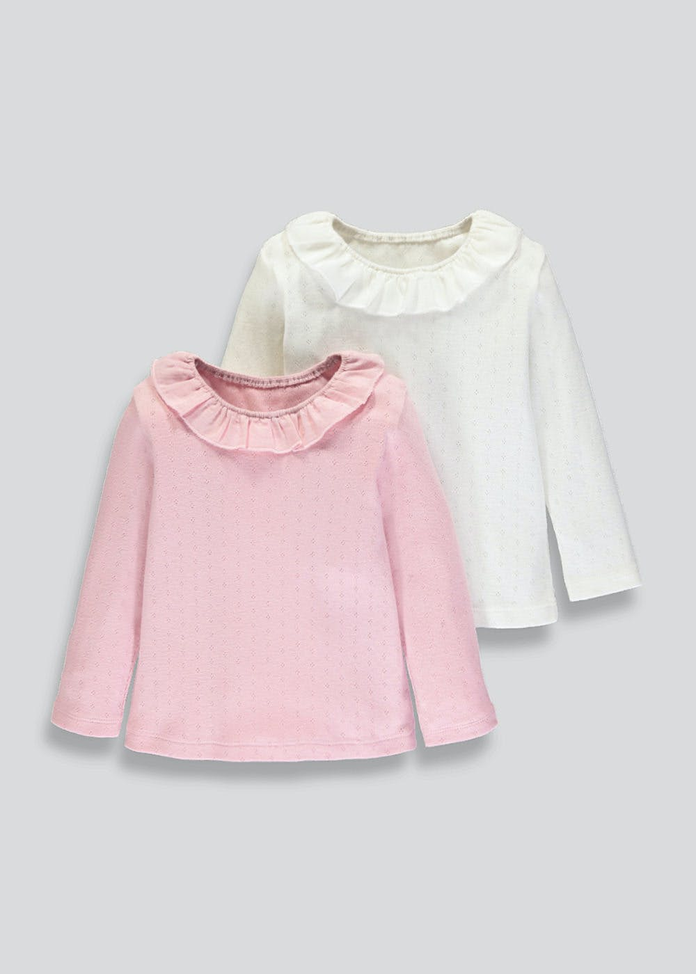 c8b202e777e59 Girls 2 Pack Woven Frill Collar Tops (3mths-6yrs) – Multi – Matalan