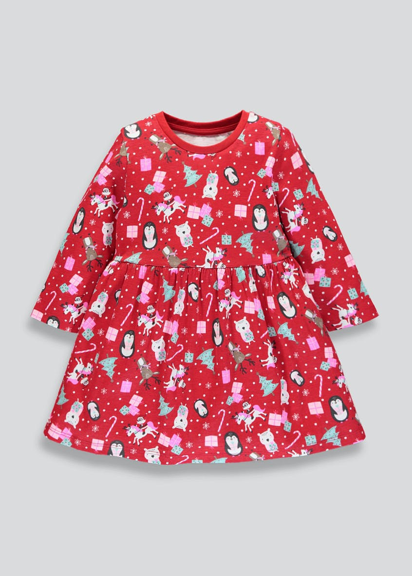 Girls Christmas Jersey Dress (9mths-6yrs)